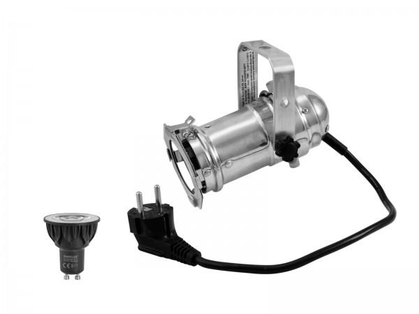 EUROLITE Set PAR-16 Spot sil + GU-10 230V COB 5W LED 1800-3000K dim2warm // EUROLITE Set PAR-16 Spot sil + GU-10 230V COB 5W LED 1800-3000K dim2warm1