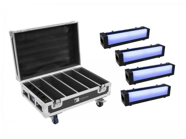 EUROLITE Set 4x AKKU Bar-6 Glow QCL + Case mit Ladefunktion // EUROLITE Set 4x AKKU Bar-6 Glow QCL + Case with charging function1
