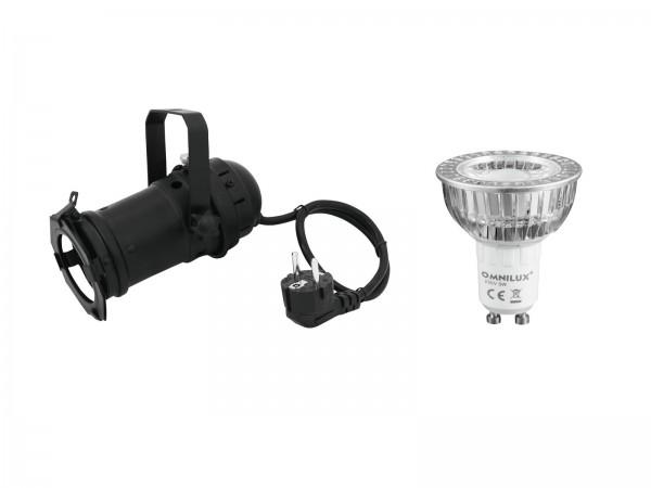 EUROLITE Set PAR-16 Spot sw + GU-10 230V COB 1x3W LED 2700K // EUROLITE Set PAR-16 Spot bk + GU-10 230V COB 1x3W LED 2700K1