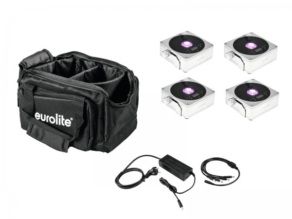 EUROLITE Set 4x AKKU IP Flat Light 1 chrom + Soft-Bag + Ladegerät // EUROLITE Set 4x AKKU IP Flat Light 1 chrome + Soft-Bag + Charger1