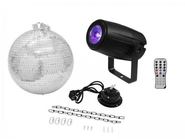EUROLITE Set Spiegelkugel 30cm mit Motor + LED PST-5 QCL Spot sw // EUROLITE Mirror Ball 30cm with motor + LED PST-5 QCL Spot bk1