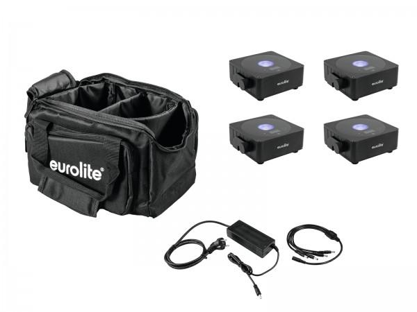 EUROLITE Set 4x AKKU Flat Light 1 schwarz + Soft-Bag + Ladegerät // EUROLITE Set 4x AKKU Flat Light 1 black + Soft-Bag + Charger1