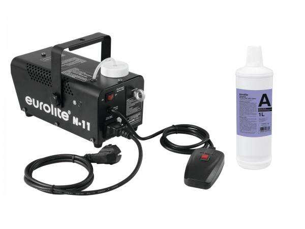 EUROLITE Set N-11 LED Hybrid blau Nebelmaschine + A2D Action Nebelfluid 1l // EUROLITE Set N-11 LED Hybrid blue fog machine + A2D Action smoke fluid 1l1