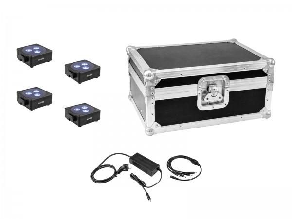 EUROLITE Set 4x AKKU Flat Light 3 sw + Ladenetzteil + Case // EUROLITE Set 4x AKKU Flat Light 3 bk + Charger + Case1
