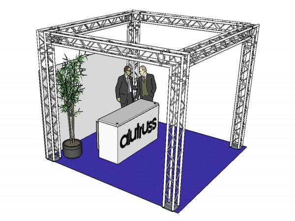 ALUTRUSS Traversenset QUADLOCK 6082 Quadrat 4x4x3,5m (BxTxH) // ALUTRUSS Truss set QUADLOCK 6082 square 4x4x3.5m (WxDxH)1