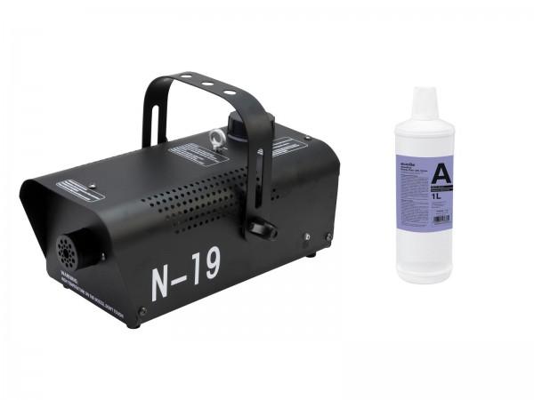 EUROLITE Set N-19 Nebelmaschine schwarz + A2D Action Nebelfluid 1l // EUROLITE Set N-19 Smoke machine black + A2D Action smoke fluid 1l1