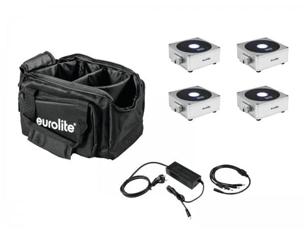 EUROLITE Set 4x AKKU Flat Light 1 silber + Soft-Bag + Ladegerät // EUROLITE Set 4x AKKU Flat Light 1 silver + Soft-Bag + Charger1