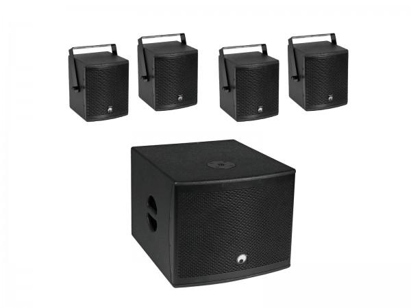 OMNITRONIC Set MOLLY-12A Subwoofer aktiv + 4x MOLLY-6 Top 8 Ohm, schwarz // OMNITRONIC Set MOLLY-12A Subwoofer active + 4x MOLLY-6 Top 8 Ohm, black1