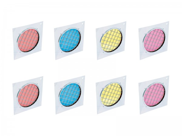 EUROLITE Set 8x Dichro-Filter, Rahmen silber PAR-56, farblich sortiert // EUROLITE Set 8x Dichroic filter, silver frame PAR-56, assorted1