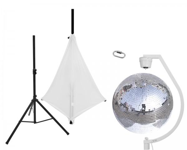 EUROLITE Set Spiegelkugel 50cm mit Stativ und Segel weiß // EUROLITE Set Mirror ball 50cm with stand and tripod cover white1