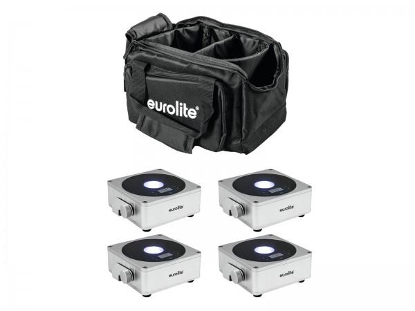 EUROLITE Set 4x AKKU Flat Light 1 silber + Soft-Bag // EUROLITE Set 4x AKKU Flat Light 1 silver + Soft-Bag1
