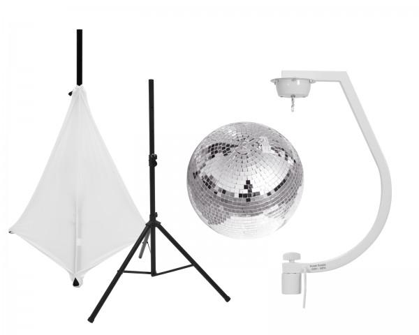 EUROLITE Set Spiegelkugel 30cm mit Stativ und Segel weiß // EUROLITE Set Mirror ball 30cm with stand and tripod cover white1