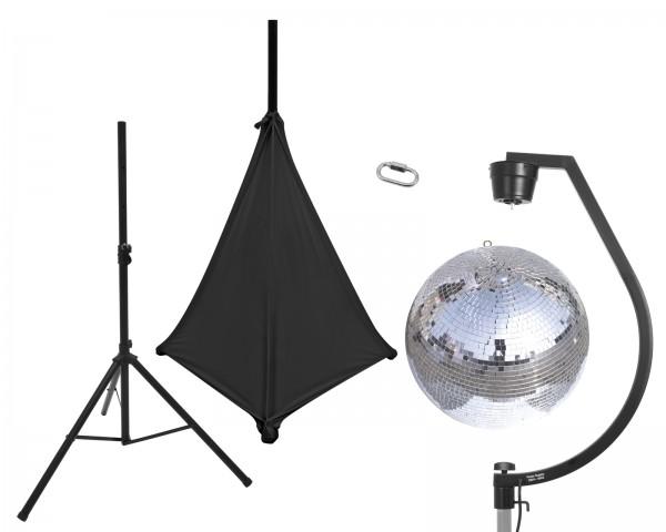 EUROLITE Set Spiegelkugel 50cm mit Stativ und Segel schwarz // EUROLITE Set Mirror ball 50cm with stand and tripod cover black1