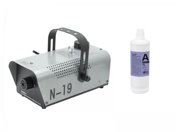 EUROLITE Set N-19 Nebelmaschine silber + A2D Action Nebelfluid 1l // EUROLITE Set N-19 Smoke machine silver + A2D Action smoke fluid 1l1