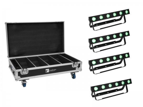 EUROLITE Set 4x AKKU Bar-6 QCL + Flightcase mit Ladefunktion // EUROLITE Set 4x AKKU Bar-6 QCL + Flightcase with charging function1