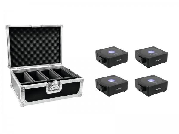 EUROLITE Set 4x AKKU Flat Light 1 schwarz + Case // EUROLITE Set 4x AKKU Flat Light 1 black + Case1