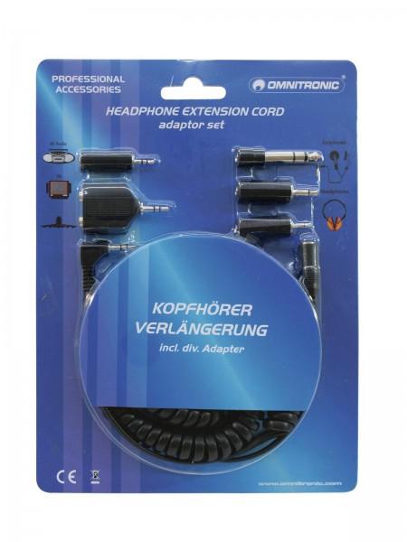 OMNITRONIC Kopfhörerverlängerung 5m mit Adapterset // OMNITRONIC Headphones Extension 5m with Adapter Set1