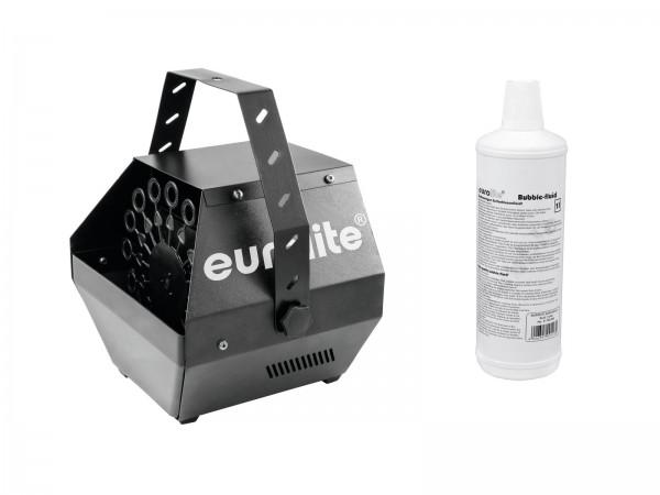 EUROLITE Set B-100 Seifenblasenmaschine schwarz DMX + Seifenblasenfluid 1l // EUROLITE Set B-100 Bubble machine black DMX + bubble fluid 1l1