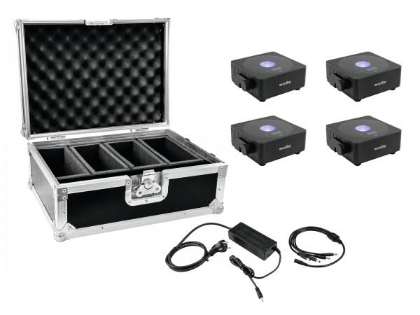 EUROLITE Set 4x AKKU Flat Light 1 schwarz + Case + Ladegerät // EUROLITE Set 4x AKKU Flat Light 1 black + Case + Charger1