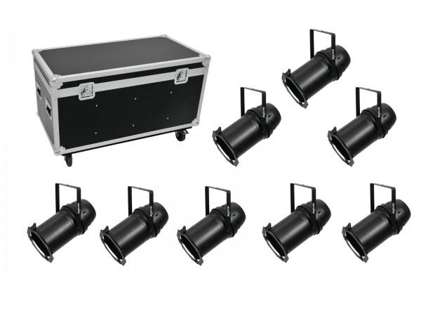 EUROLITE Set 8x LED PAR-64 COB 3000K 100W Zoom sw + Case // EUROLITE Set 8x LED PAR-64 COB 3000K 100W Zoom bk + Case1