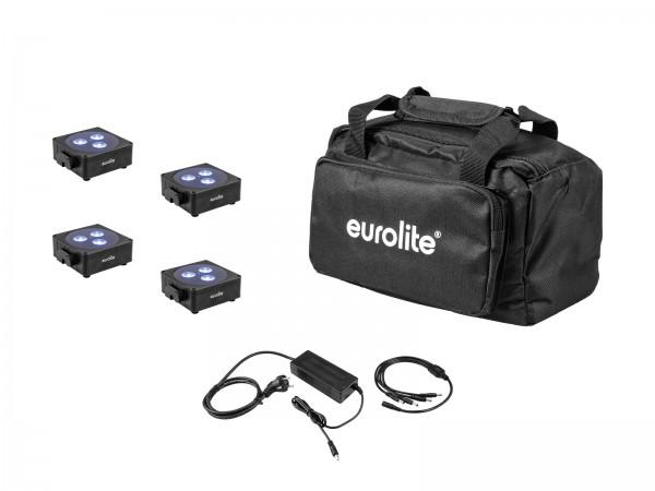 EUROLITE Set 4x AKKU Flat Light 3 sw + Ladenetzteil + Soft-Bag // EUROLITE Set 4x AKKU Flat Light 3 bk + Charger + Soft-Bag1