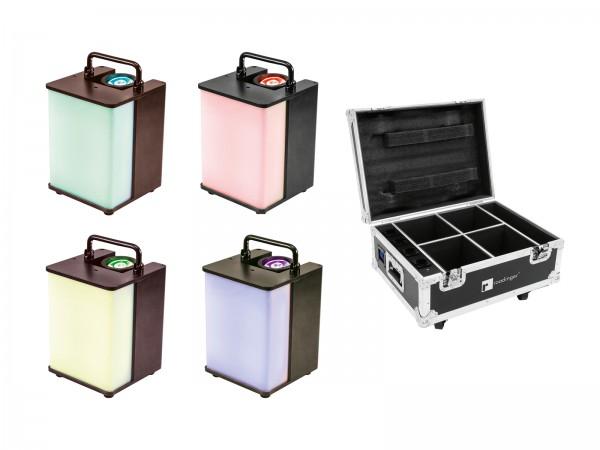 EUROLITE Set 4x AKKU UP-1 Glow QCL + Case mit Ladefunktion // EUROLITE Set 4x AKKU UP-1 Glow QCL + Case with charging function1