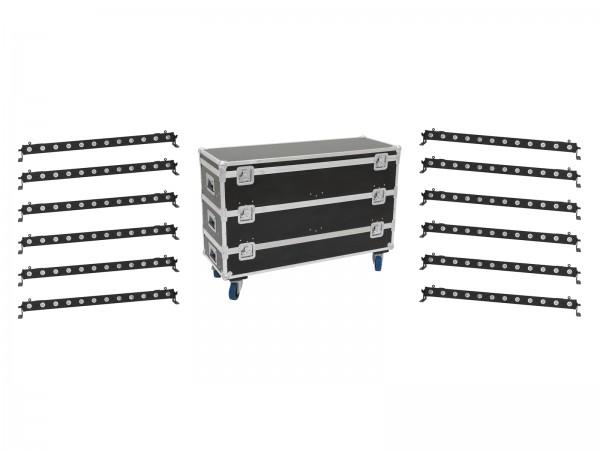 EUROLITE Set 12x LED BAR-12 QCL RGBW Leiste + Case L // EUROLITE Set 12x LED BAR-12 QCL RGBW Bar + Case L1