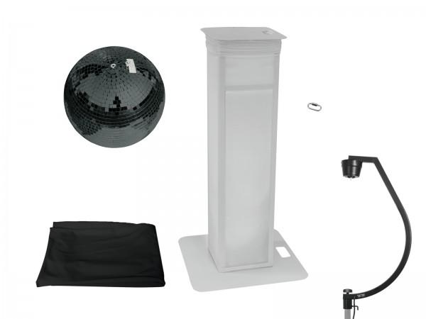 EUROLITE Set Spiegelkugel 50cm schwarz mit Stage Stand variabel + Cover schwarz // EUROLITE Set Mirror ball 50cm black with Stage Stand variable + Cover black1