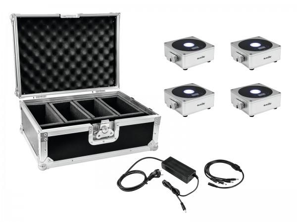 EUROLITE Set 4x AKKU Flat Light 1 silber + Case + Ladegerät // EUROLITE Set 4x AKKU Flat Light 1 silver + Case + Charger1