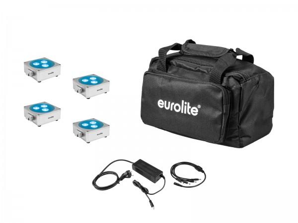 EUROLITE Set 4x AKKU Flat Light 3 sil + Ladenetzteil + Soft-Bag // EUROLITE Set 4x AKKU Flat Light 3 sil + Charger + Soft-Bag1