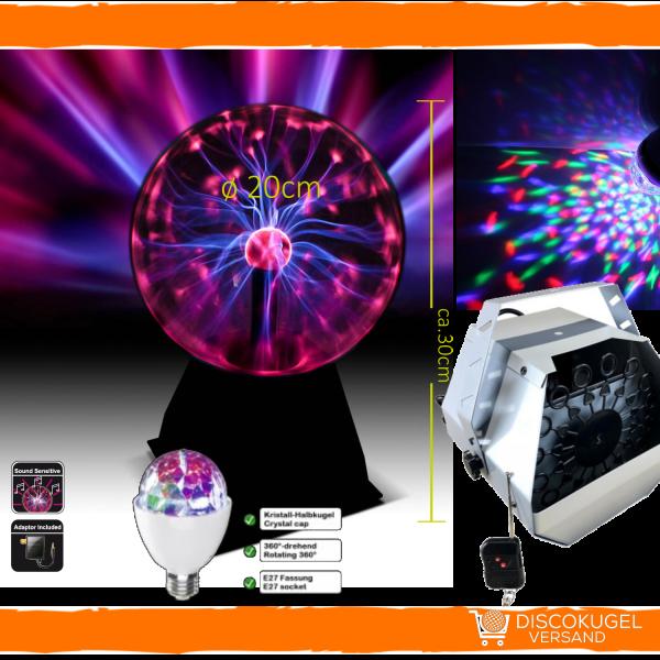 Party Licht Set 1: Discoball LED, Plasma & Seifenblasen Set