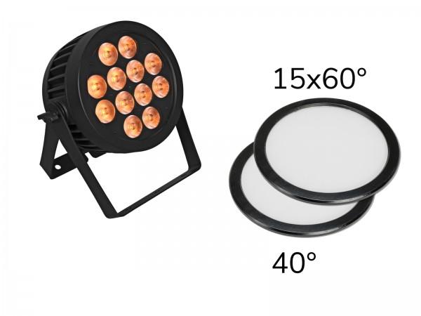 EUROLITE Set LED IP PAR 12x9W SCL Spot + 2x Diffusorscheibe (15x60° und 40°) // EUROLITE Set LED IP PAR 12x9W SCL Spot + 2x Diffuser cover (15x60° and 40°)1