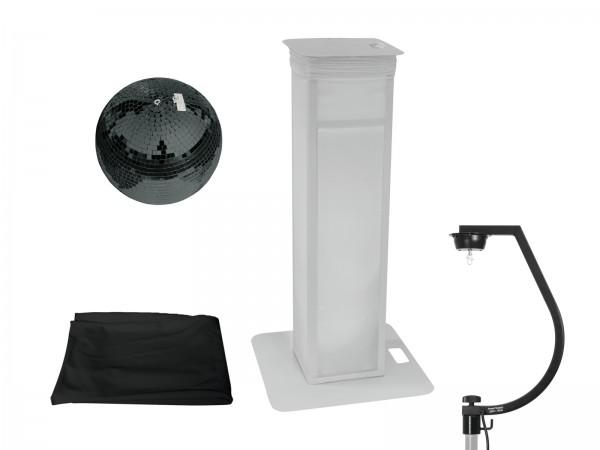 EUROLITE Set Spiegelkugel 30cm schwarz mit Stage Stand variabel + Cover schwarz // EUROLITE Set Mirror ball 30cm black with Stage Stand variable + Cover black1