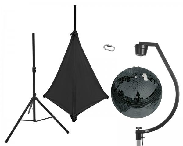 EUROLITE Set Spiegelkugel 50cm schwarz mit Stativ und Segel schwarz // EUROLITE Set Mirror ball 50cm black with stand and tripod cover black1