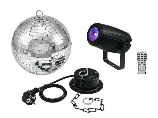 EUROLITE Set Spiegelkugel 20cm mit Motor + LED PST-5 QCL Spot sw // EUROLITE Mirror Ball 20cm with motor + LED PST-5 QCL Spot bk1