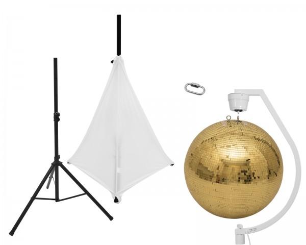 EUROLITE Set Spiegelkugel 50cm gold mit Stativ und Segel weiß // EUROLITE Set Mirror ball 50cm gold with stand and tripod cover white1