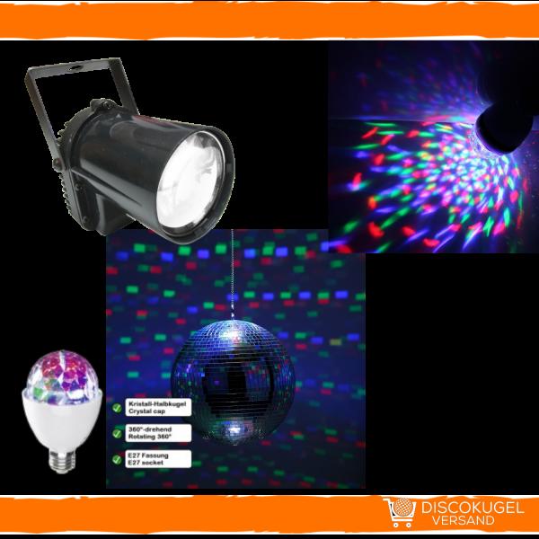 Party & Disco Set: Discokugel und LED