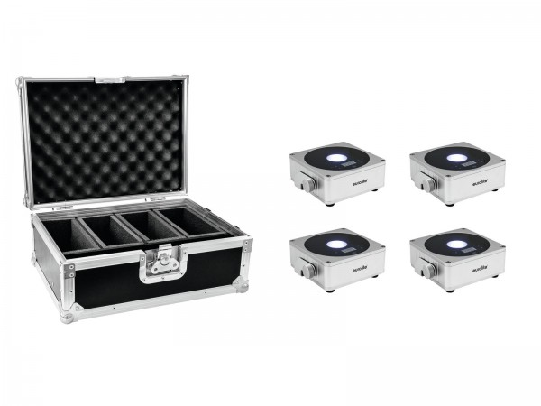 EUROLITE Set 4x AKKU Flat Light 1 silber + Case // EUROLITE Set 4x AKKU Flat Light 1 silber + Case1