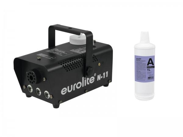 EUROLITE Set N-11 LED Hybrid amber Nebelmaschine + A2D Action Nebelfluid 1l // EUROLITE Set N-11 LED Hybrid amber fog machine + A2D Action smoke fluid 1l1