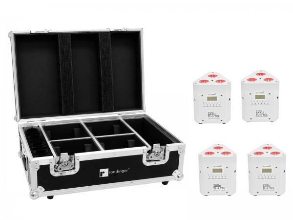 EUROLITE Set 4x AKKU TL-3 TCL weiß + Case mit Ladefunktion // EUROLITE Set 4x AKKU TL-3 TCL white + Case with charging function1