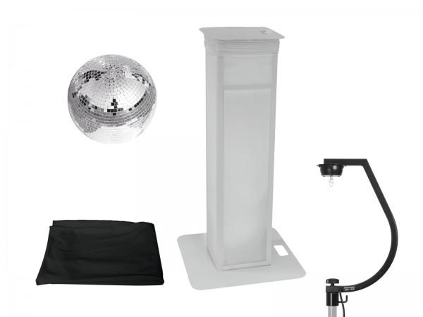 EUROLITE Set Spiegelkugel 30cm mit Stage Stand variabel + Cover schwarz // EUROLITE Set Mirror ball 30cm with Stage Stand variable + Cover black1